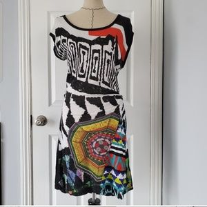 Desigual Geometric Black and White Dress